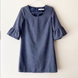 Just Fab Grayish Blue Bell Sleeve Dress Small